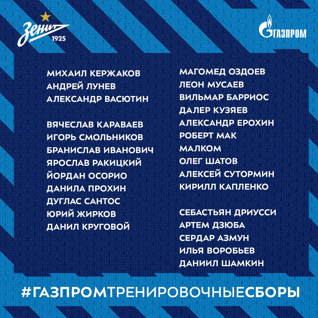 Zenit Squad for Second Training Camp Decided