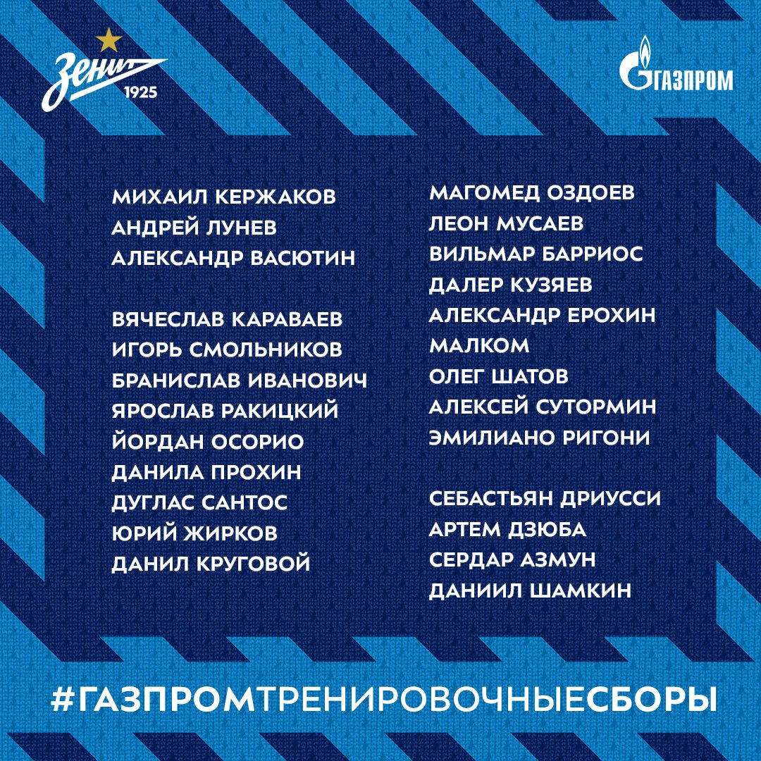 Zenit Squad for Third Training Camp Announced